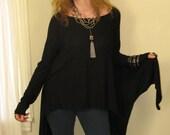 Boho Asymmetric Tunic Oversize Long Sleeve Sweater Open Front Cardigan Yoga Wrap Top Rayon/Spandex Jersey (More Colours) -  XS - XL
