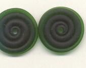 Tom's lampwork extra dark satin (etched) emerald green 2 disc spacer/drop set, 0193