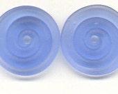 Tom's lampwork transparent satin (etched) medium blue 2 disc spacer/drops set, 1 pair 99720