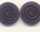 Tom's lampwork transparent satin (etched) dark violet 2 disc spacer/drop/clasps, 1 pair 99691