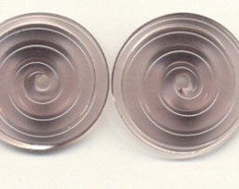 Tom's lampwork transparent rose tea 2 disc beads spacer/drops set, 1 pair, 99797