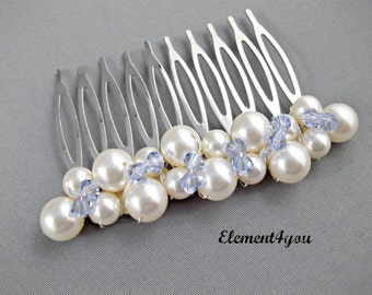 Something Blue Hair, Wedding, Bridal Comb, Swarovski white or ivory pearls, Sapphire crystals Clusters, Hair accessories, Bridesmaid comb