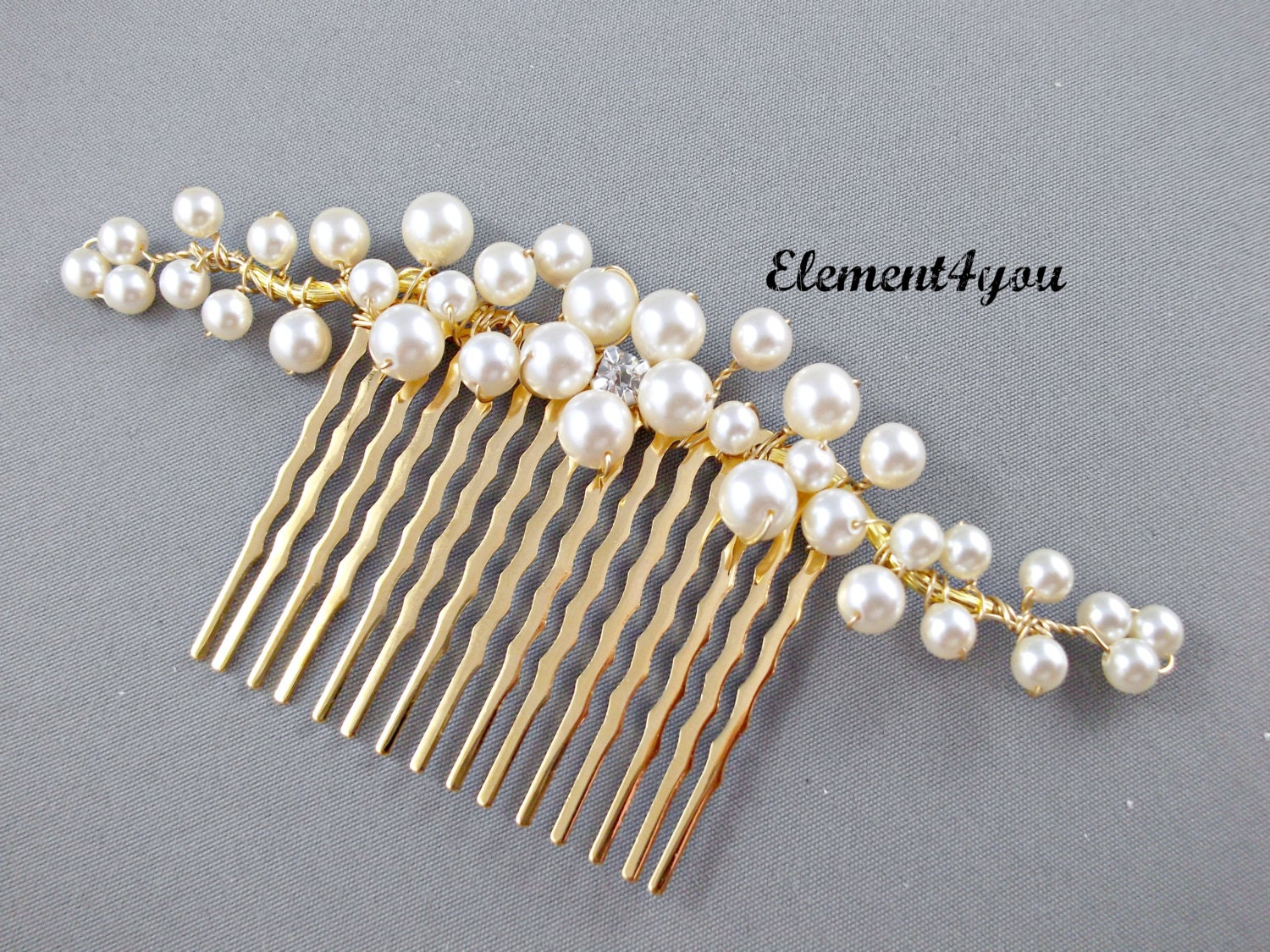 bridal hair comb gold branches pearl flower swarovski ivory