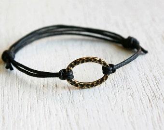 Oval Karma Circle Bracelet, Over Karma Circle Anklet (many cord colors to choose)