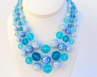 Necklace Blue Faceted Plastic AB Multi Strand Vintage