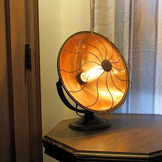 Table Lamp Copper Bowl Space Heater Repurposed Vintage