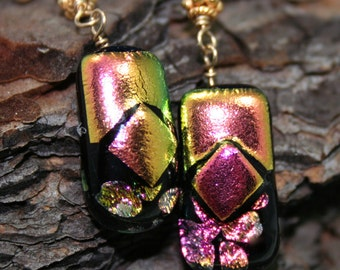 Pink Dichroic Glass Earrings, Gold Art Glass Earrings Hawaii Sunset Jewelry, Fused Glass Earrings, Dichroic Dangles, Gold Dichroic Jewelry