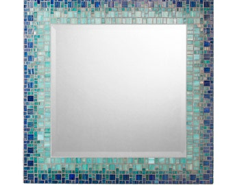 Custom Mosaic Mirror - Deep Blue, Sea Green & Teal