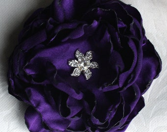 purple Peony bridal Hair Flower comb / Clip wedding head Piece Ready to ship