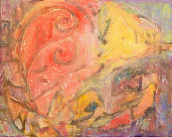 """Abstract Painting Coral Light Yellow Fawn Brown 11"""" x 14"""" FREE SHIP titled Constructing Joy artist Gwen Duda"""