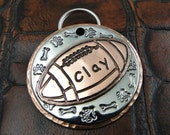 Football Pet ID Tag, Dog ID Tag, Personalized Dog Collar Tag, Custom Football Pet Tag