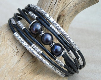 Black Pearls, Sterling Silver and Black Leather Cuff Bracelet