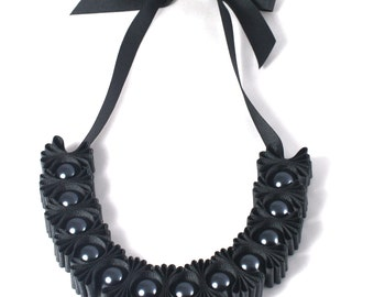 Charcoal Chunky 5 Pleat Statement Ribbon Necklace - Ribbon Necklace - Beaded Necklace - Gift for Her - Maneggi Necklace