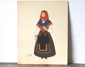 Pochoir Lithograph By Emile Gallois 1939 Leon Peasant Girl Costume