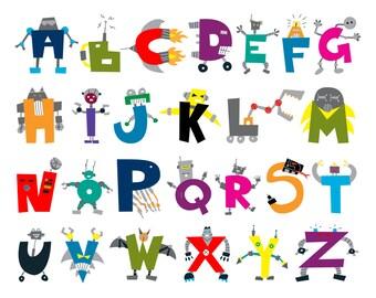 printable chidren's ABC poster: robot alphabet illustration 11x14