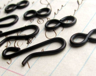 Large hook and eye set, 21mm hook, 11mm figure eight eye, black antiqued brass (4 sets) black metal findings, hand flattened hook