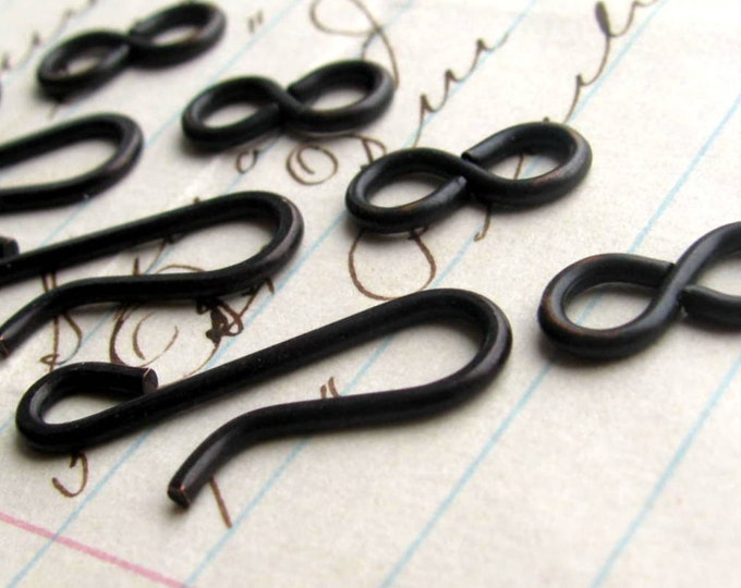 Large hook and eye set, 21mm hook, 11mm figure eight eye, black antiqued brass (4 sets) black metal findings, hand flattened hook