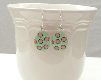 Green and Pink Easter Egg Dangle Earrings
