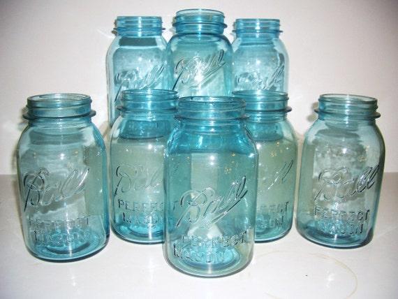 3 Blue Mason Quart Ball Jars Embossed Script 1930s