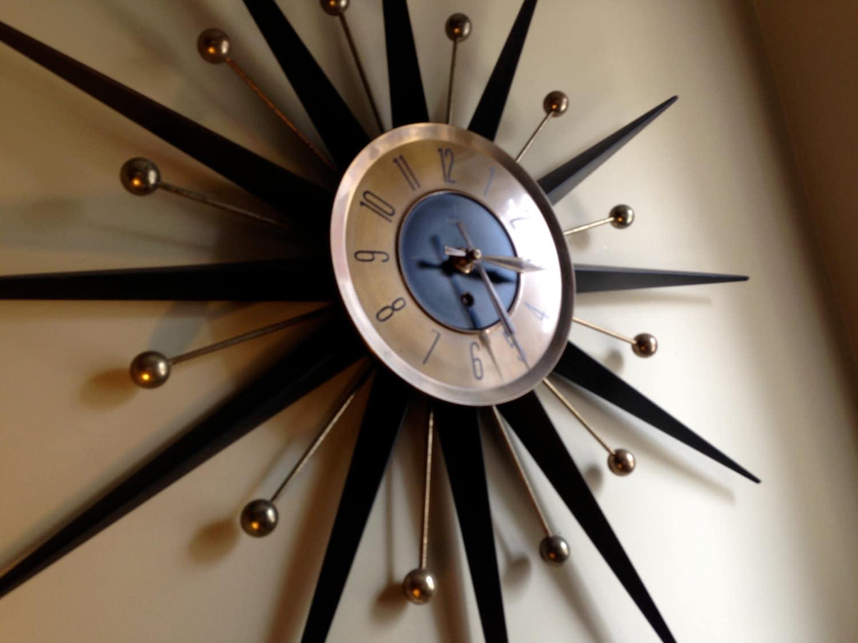 Reserved For Ben Mid Century Atomic Starburst Wall Clock