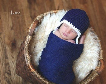 Baby Hat, Newborn Hat, Newborn Baby Earflap Hat, Photography Prop, Navy and White or Choose your own colors