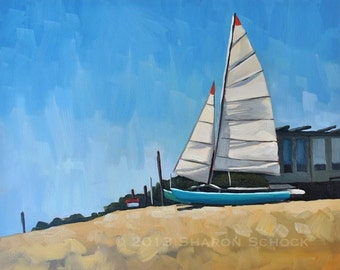 Nautical Oil Painting - Beached Boat - 8x10 Seascape Painting by Sharon Schock