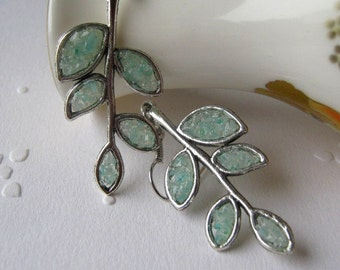 Branch Earrings, Leaf Earrings, Twig Earrings, Stem Earrings, Stained Glass Leaf, Stem Earrings