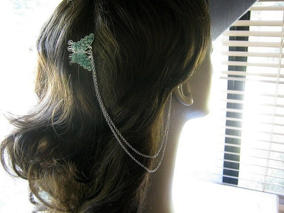 Stained Glass Butterfly Ear Cuff, Comb Ear Cuff, Ear Cuff Hair Comb, Hair Cuff, Comb Cuff