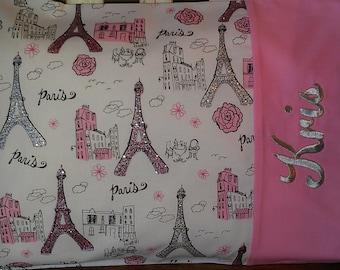 Sparkly Eiffel Tower Travel Pillow Pillowcase