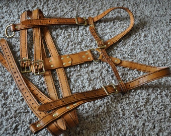 PREMADE Steampunk Leather harness,Tan Underbust straps with Brass buckles.Hand stitched and Premade.underbust size 26-34 inches