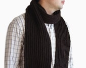 Brown wool mens scarf, Mens brown knit Scarf, Dark brown scarf for him
