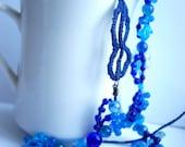 Etno necklace, Blue Necklace, Crochet Necklace with Beads, Bead Necklace, Crochet Jewelry, Navy Blue Necklace, Dark Blue Necklace, Aqua Blue