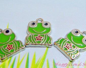 Happy Green Frog  Enamel Charms... 4pcs