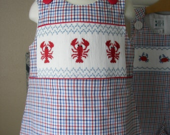 Girls Smocked  Dress  LOBSTERS, A-line jumper, romper,