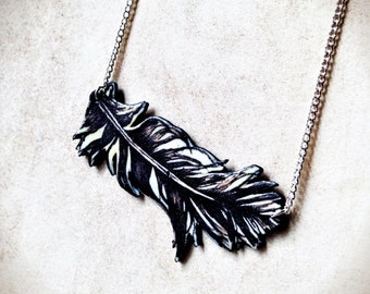 Feather Necklace Rogue Goth Black Silver Plated Chain Unique Occult
