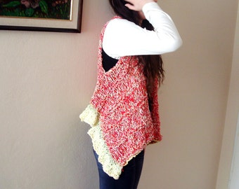 50% off sale, Hand knitted Assymetrical Sweater,plus size thick Vest