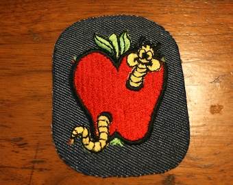 vintage 70s Groovy Worm in the Apple Iron On Patch