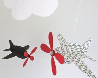 Baby Mobile, Airplanes in  Black, White, and Red with Houndstooth Pattern