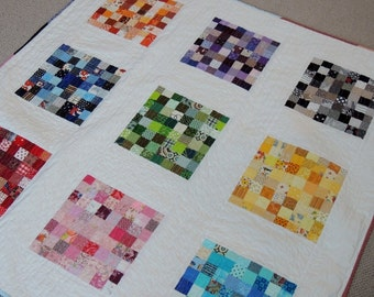Modern Quilted Throw/ Rainbow/Multi Colors
