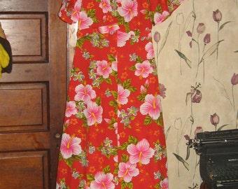 Vintage Hawaiian ALOHA Maxi Dress Haleaka Fashions   sz 16