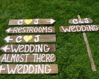 Rustic Wedding Signs LARGE 8 wooden SIGN 7 Stakes directional signage customized weddings country beach decorations reception