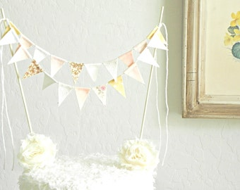 Rose Gold Champagne Lace and Burlap Fabric Bunting Cake Topper Decoration / Romantic Vintage Garden Wedding