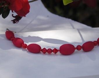 Beaded Red Polymer Bracelet