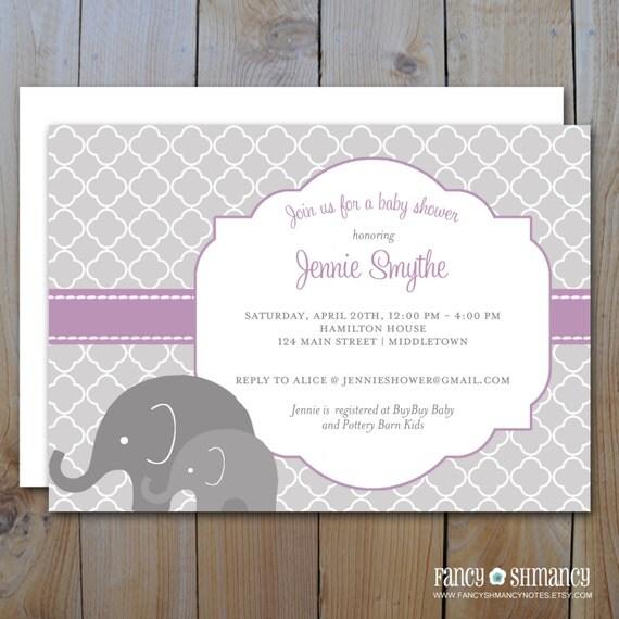 elephant baby shower invitation printable purple and grey shower