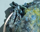 Yoga Mat Bag in blue, green and yellow batik fabric