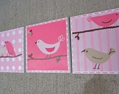 Ready To Ship! 3-pc bird canvas art for girls room or nursery