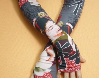 Extra long Fingerless Gloves, Japanese Motive Grey Red Cream Mix, Boho, Jersey Armwarmers with Thumb Holes, Dance