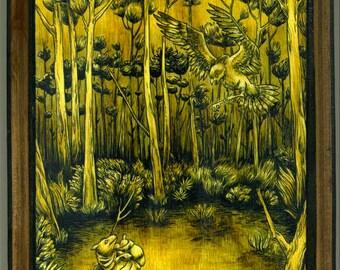Mounted print wood art- Nesting Grounds