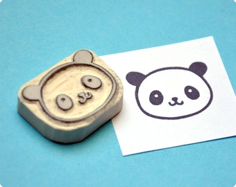 Cute panda hand carved rubber stamp. Rubber stamp. Handmade Stamp. Handcarved stamp