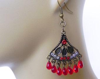 Neo-Victorian Tribal Earrings in Red